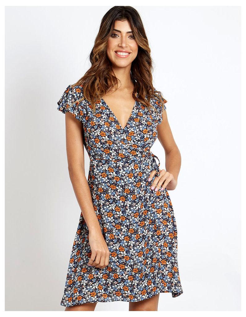 BLAKELY - Frill Shoulder Wrap Dress