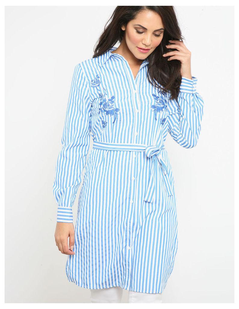 POOJA- Embroidery Stripe Dress Blue