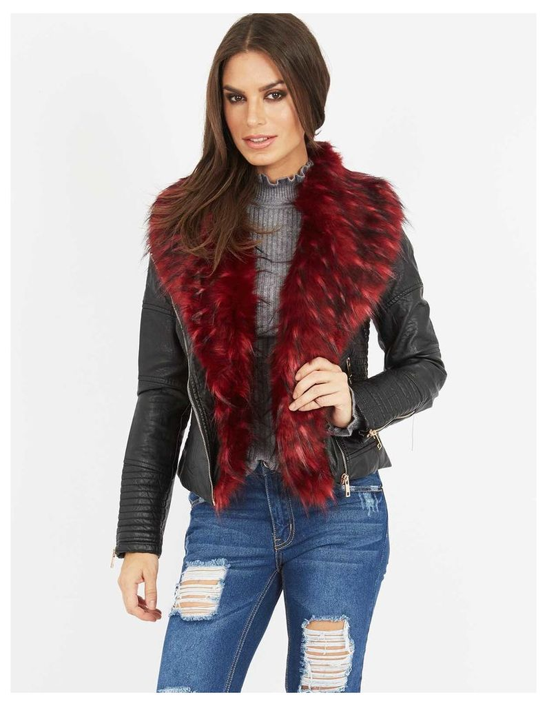 TELLER - Leather Look Red Faux Fur Jacket