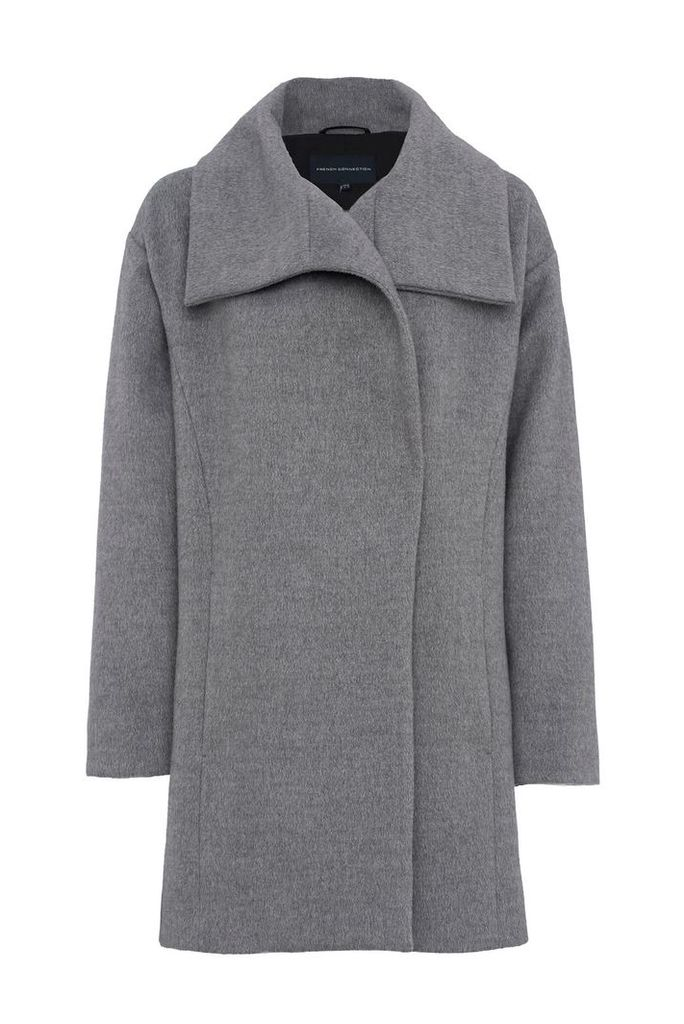 French Connection Bennie Wool Wide Collar Coat, Grey