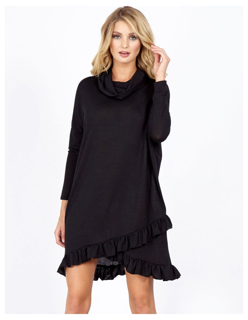 ADARA - Cowl Neck Frill Hem Black Tunic