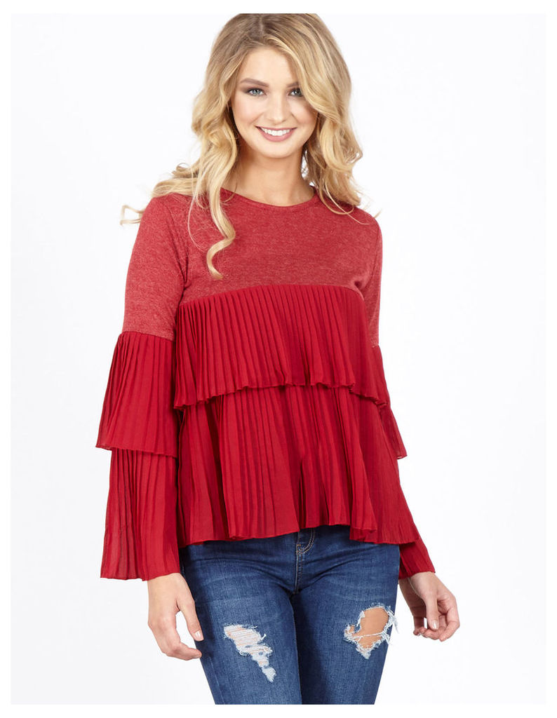 PANIA - Pleated Tiered Red Top