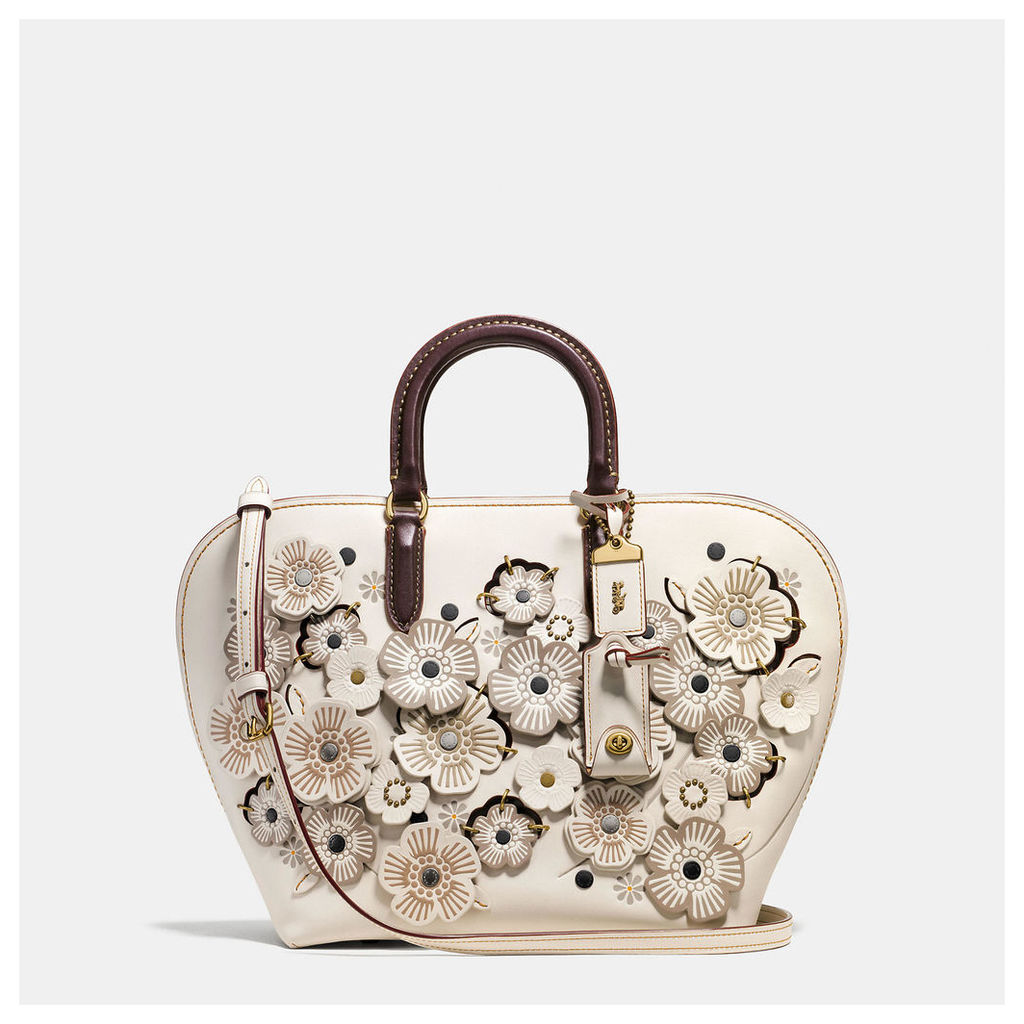 Coach Dakotah Satchel In Glovetanned Leather With Linked Tea Rose