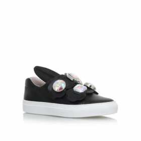 Womens Minna Parikka Gemminna Parikka Gem Black Leather Sneakers, 2.5 UK