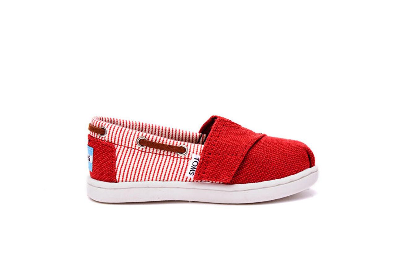 Red Burlap and Stripe Textile Tiny TOMS Biminis