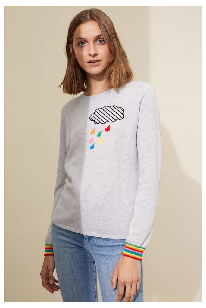 EXCLUSIVE Silver Marl Rainbow Trim Cloud Cashmere Sweater