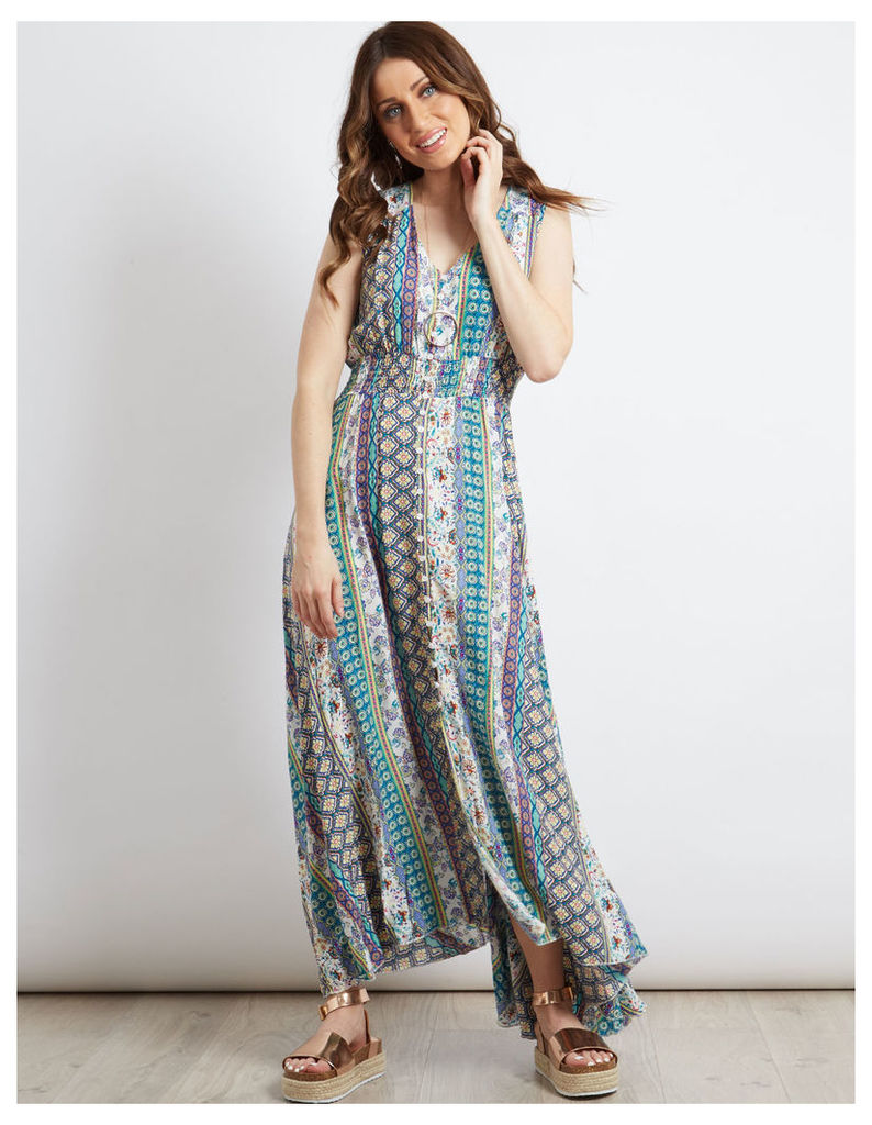 AMELIE - Stripe Print Maxi Dress