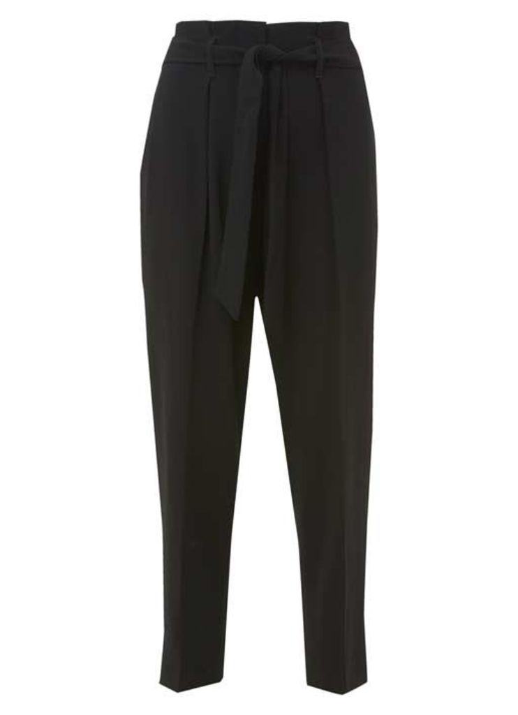 Black Luxe Crepe Paperbag Trouser