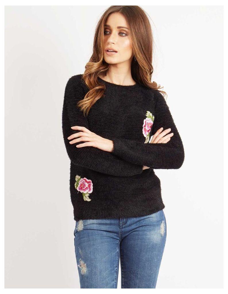 SERAPHINA - Floral Badge Ribbed Jumper Black