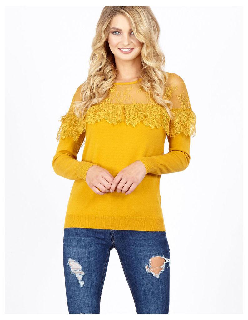 JOVIE - Lace Frill Lace Neck Mustard Jumper