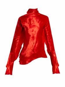 Paula Knorr - Relief Waterfall-ruffled Silk-blend Velvet Top - Womens - Red