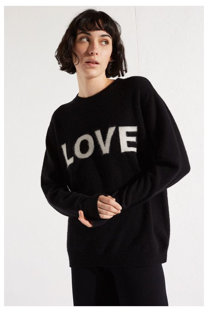 Black Mohair Love Cashmere Blend Sweater