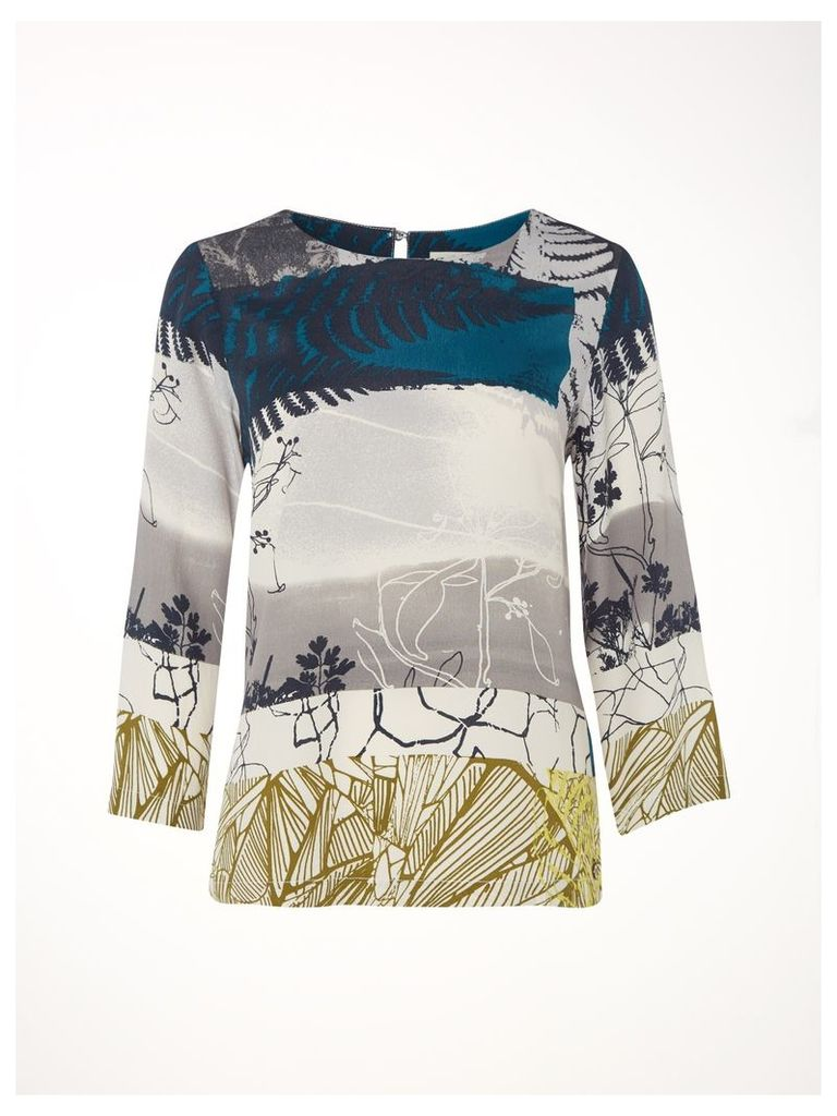 Leaf Print Shell Top
