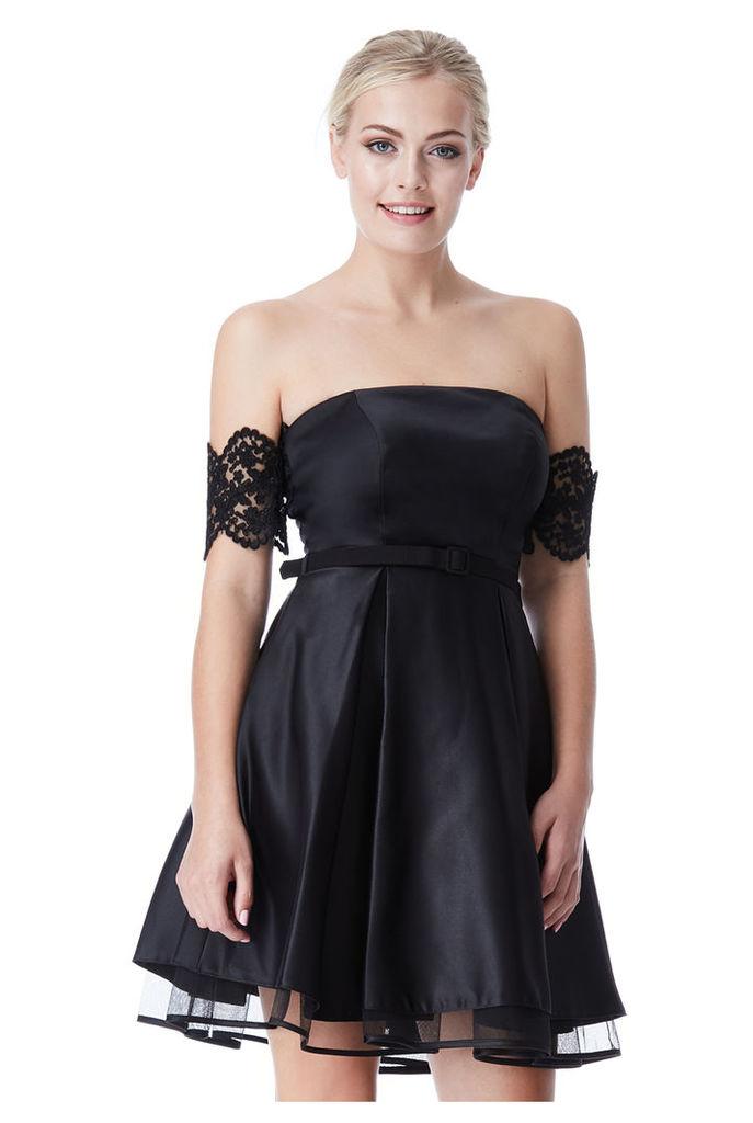 Satin Bardot Skater Dress with Lace Detail - Black