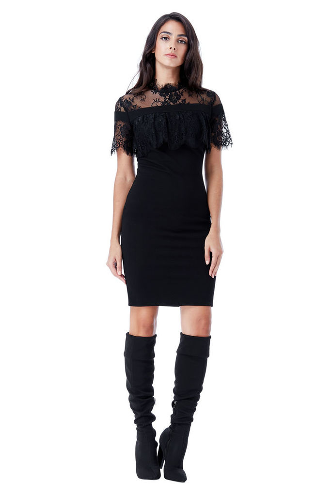 High Neck Fitted Lace Dress - Black