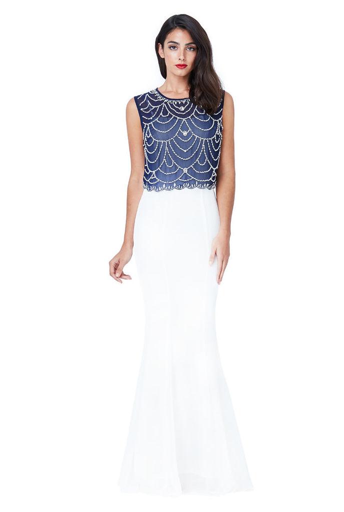 Embellished Chiffon Maxi Dress - Cream