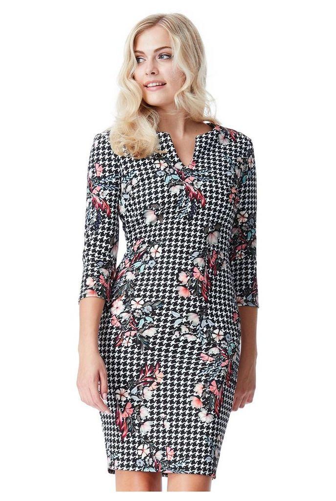 Three Quarter Sleeved Multi Print Midi Dress - Blackprint