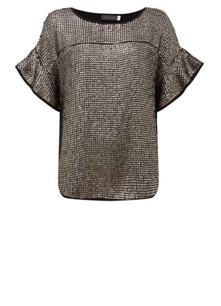 Taupe Frill Sleeve Sequin Tee