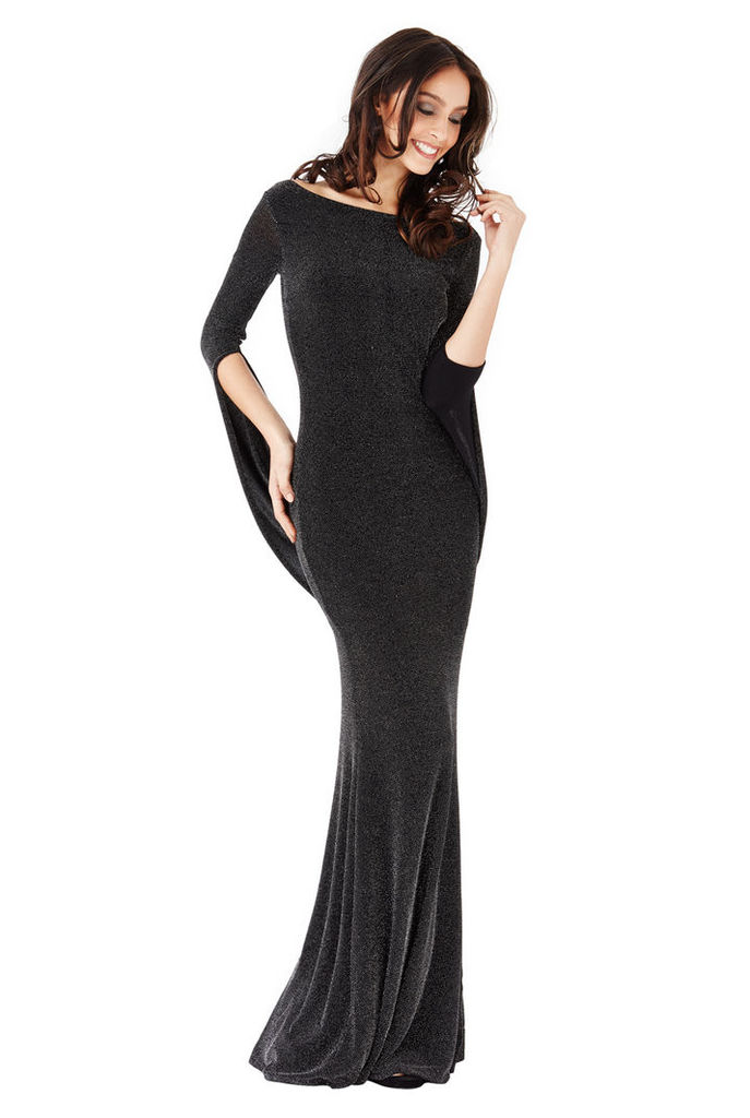 Open Back Glitter Maxi Dress with Scarf Style Sleeve - Black