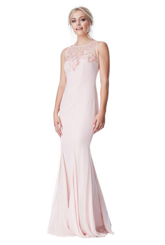 Embellished Chiffon Maxi Dress - Nude