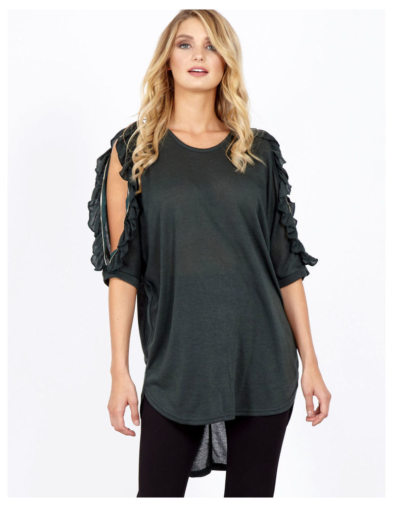 CLARA - Ruffle Zip Cold Shoulder Forest Tunic