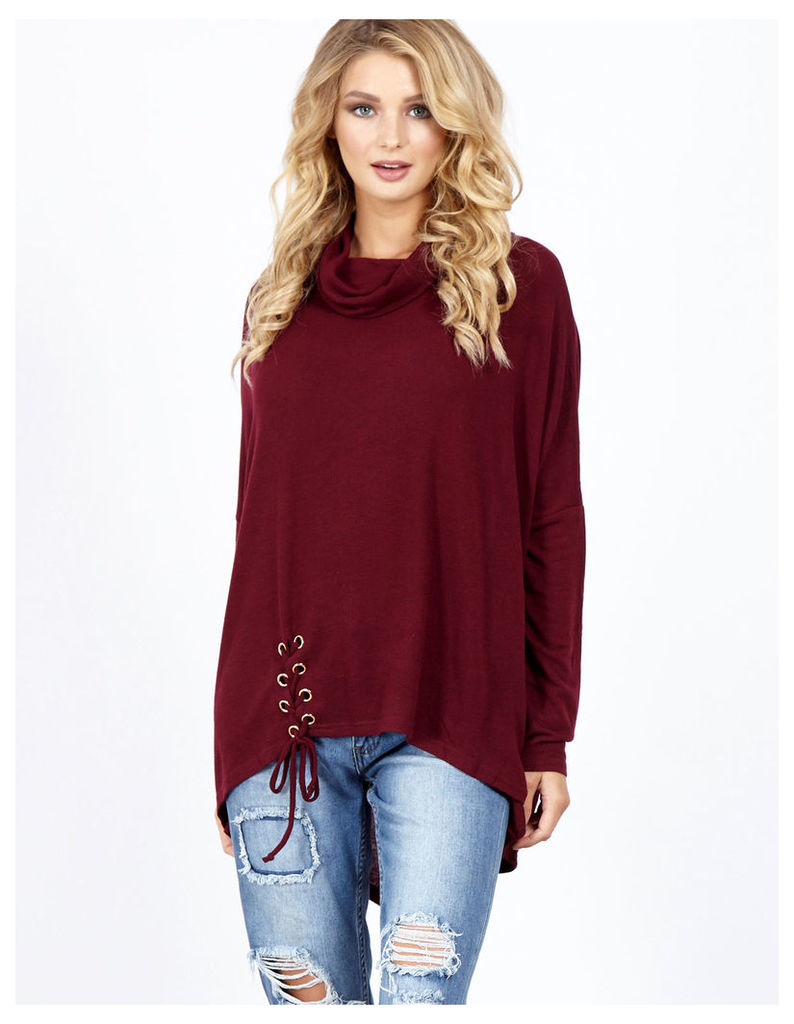 CARINA - Lacing Detail Cowl Neck Oversize Berry Top