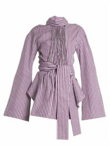 Teija - Cut-out Cotton-gingham Wrap Top - Womens - Purple White