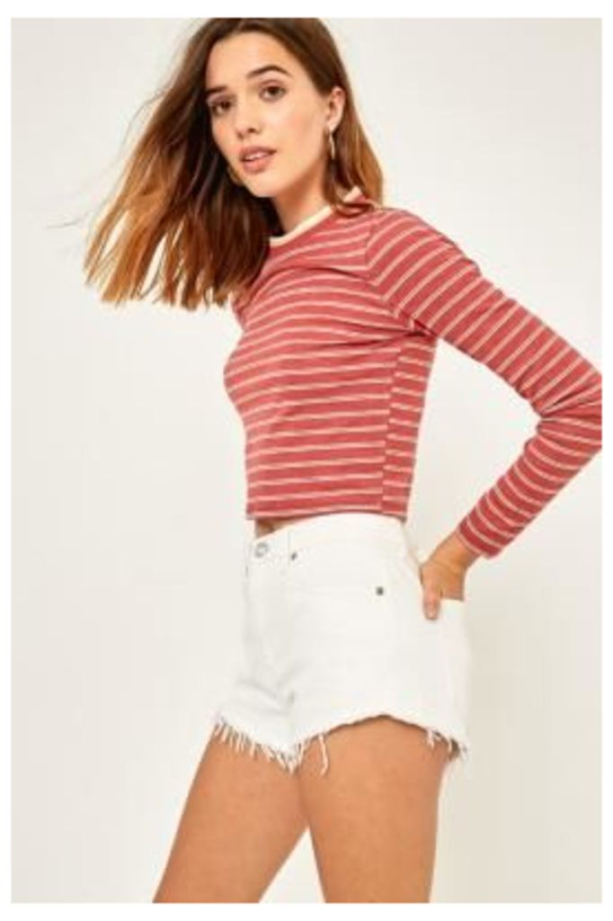 Urban Outfitters Tipped Striped Long Sleeve T-Shirt, Maroon