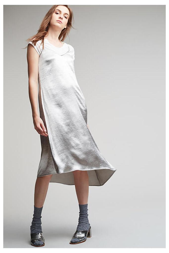 Erin Asymmetric Dress, Silver - Silver, Size Uk 10