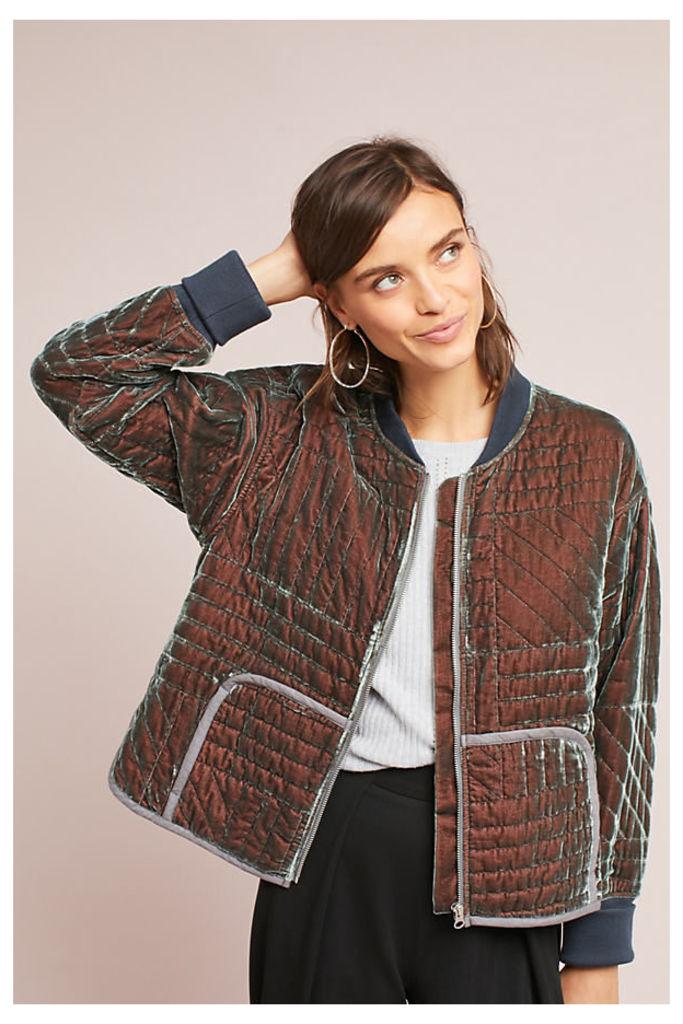 Sara Velvet Quilted Jacket - Grey, Size M