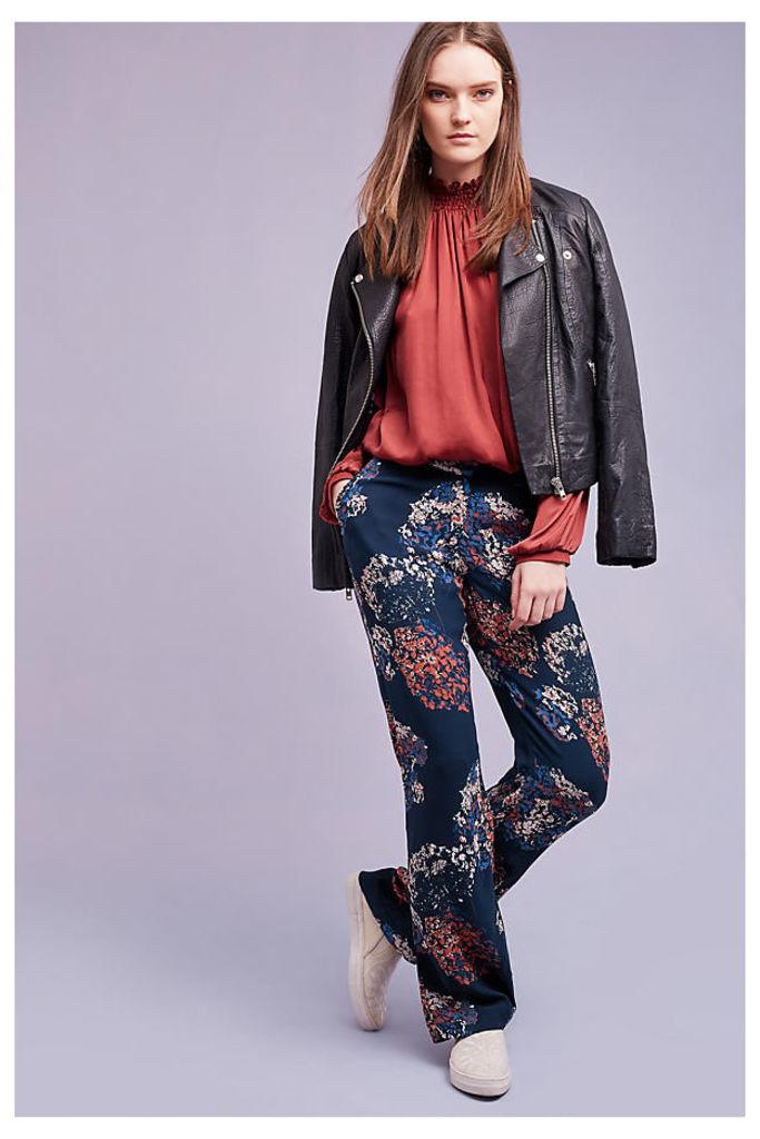 Fleur Floral Trousers, Navy - Navy, Size Xl