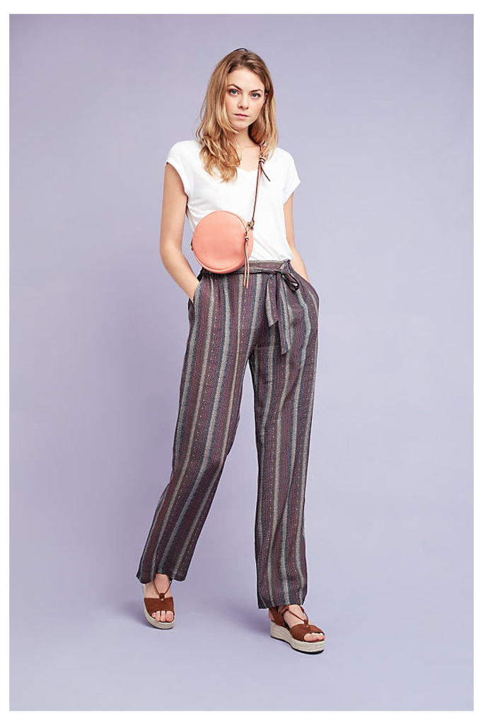 Diana Striped Trousers, Brown - Brown, Size 14