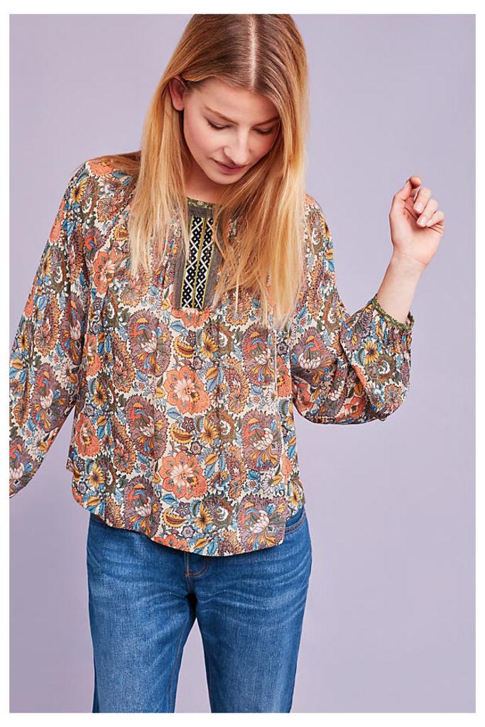 Brigitte Floral Peasant Blouse, Orange - A/s, Size Uk12