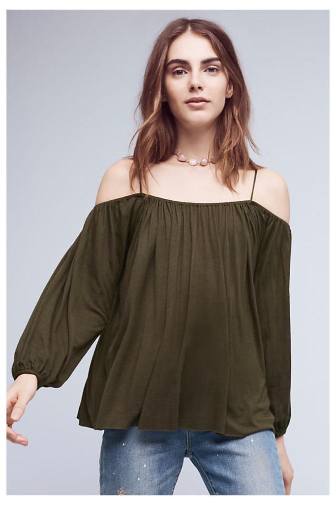 Taven Open-Shoulder Top, Green - Green, Size S