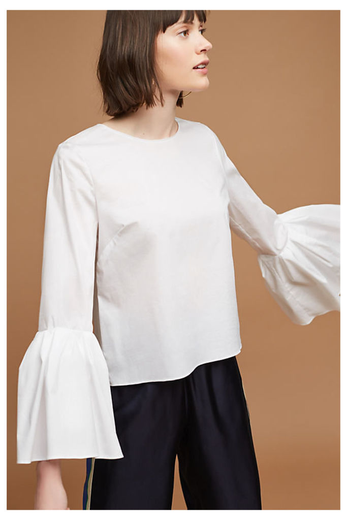 Canberra Bell-Sleeve Blouse, White - White, Size S