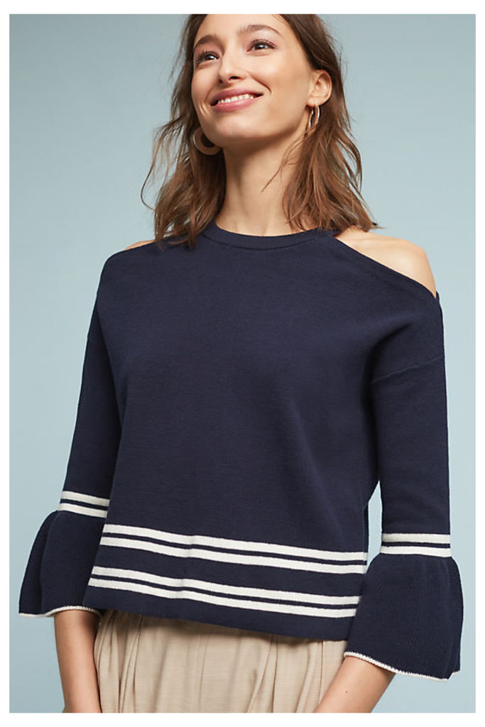 Leandre Open-Shoulder Top - Navy, Size L