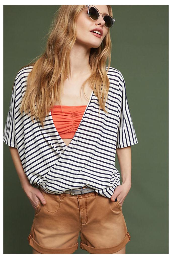 Joceline Striped Wrap Top, Navy - Navy, Size Xs
