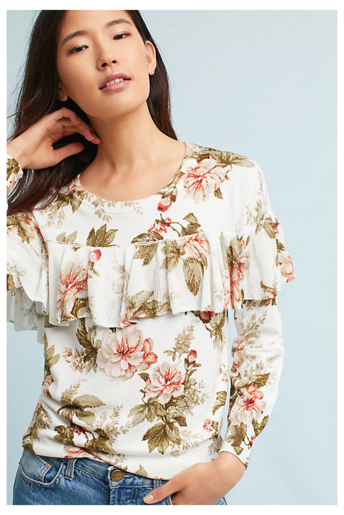 Ritchie Floral Ruffled Sweater - A/s, Size Xs