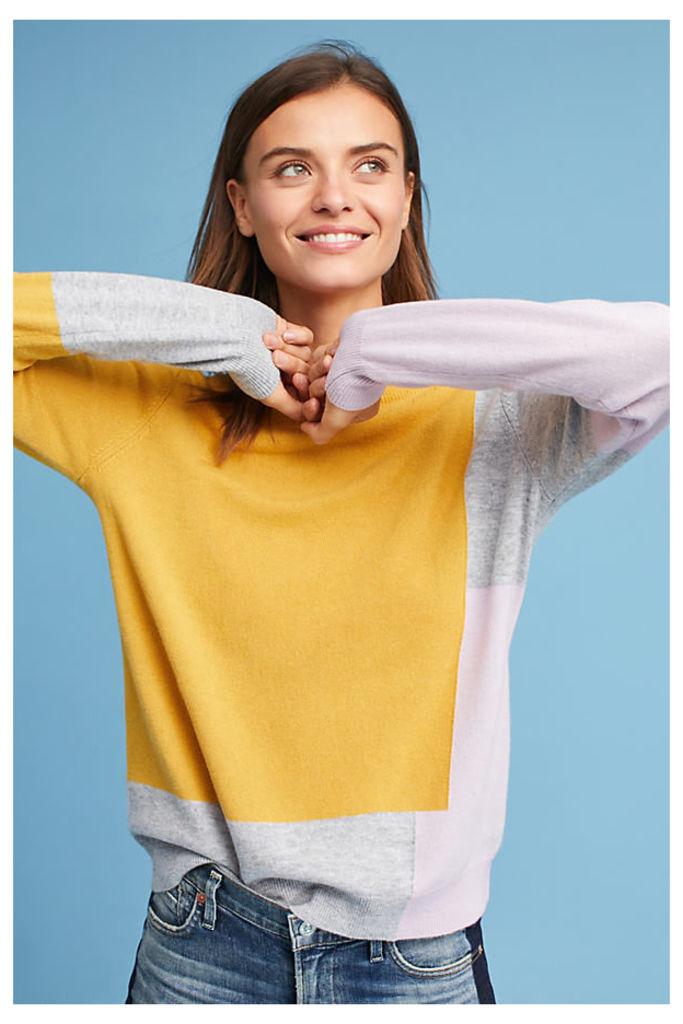 Via Colour-Block Pullover, Yellow - Yellow Motif, Size Xs