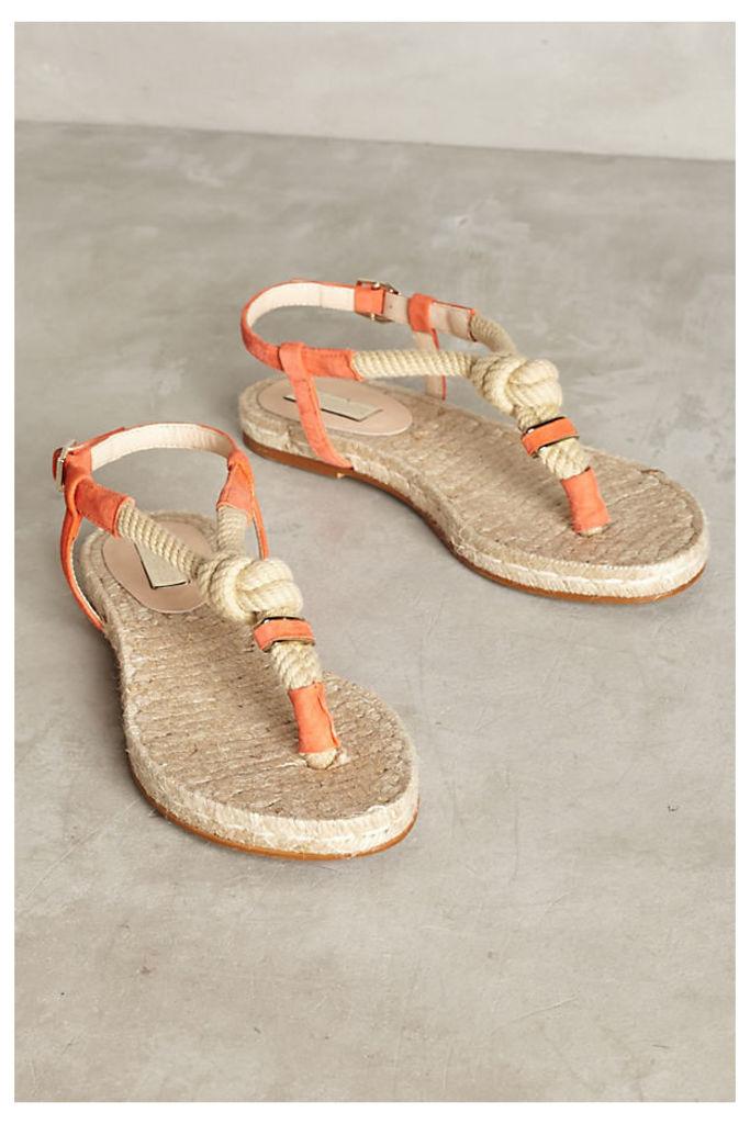 Elysess Rope Thong Sandals - Orange, Size 39