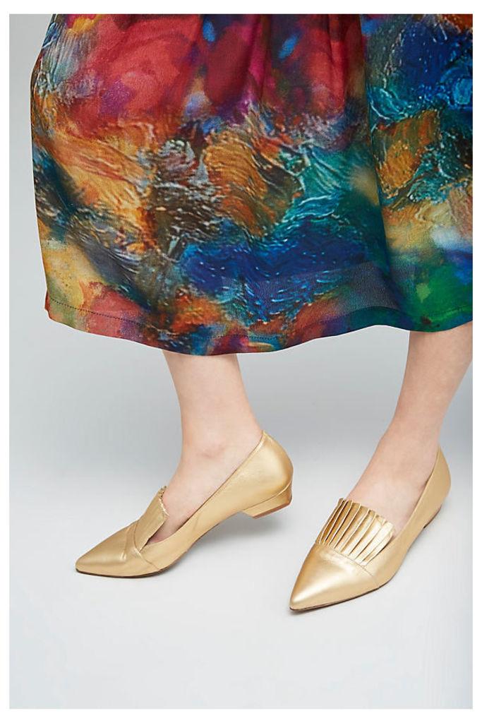 Arabella Pleat Front Flats - Gold, Size 37