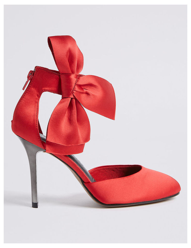 M&S Collection Stiletto Bow Satin Two Part Court Shoes