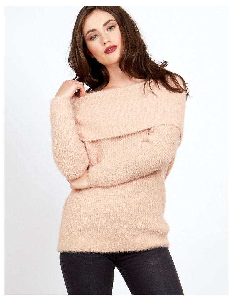 CANDY - Knitted Bardot Pink Jumper