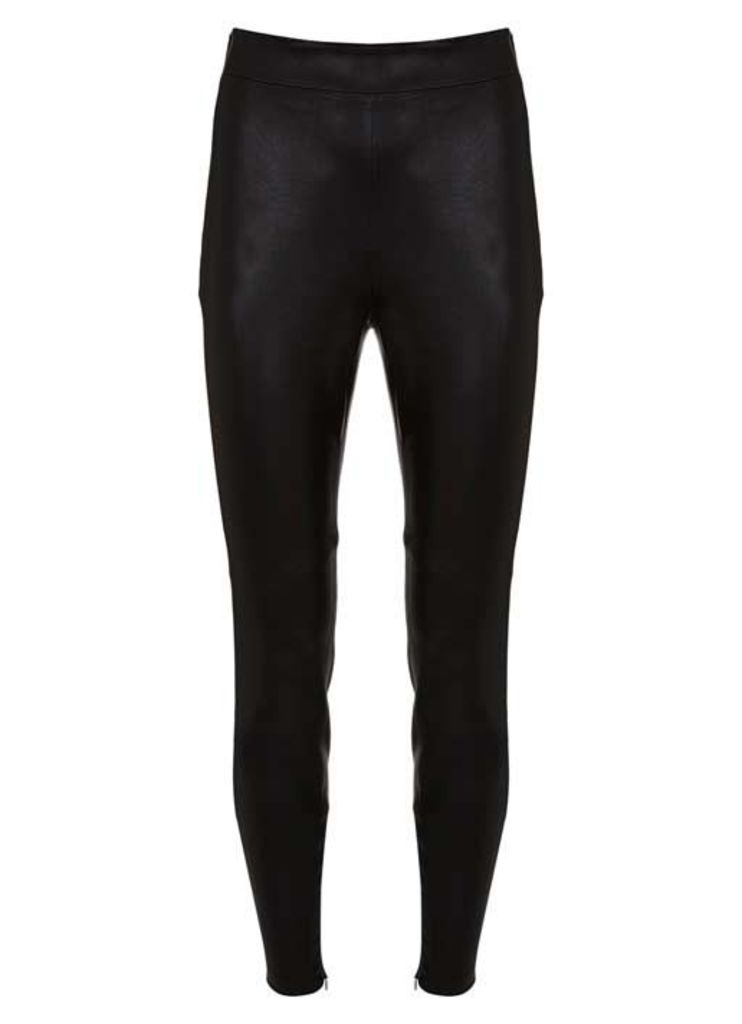 Black Stretch Leather Trouser