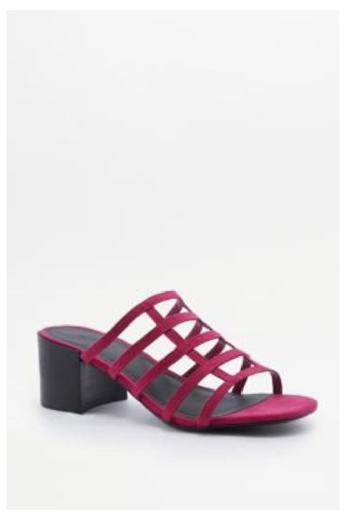 Lattice Cage Mule Heels, Pink
