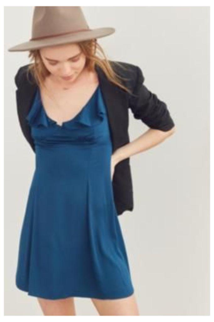 Kimchi Blue Daisy May Blue Ruffle Dress, Navy