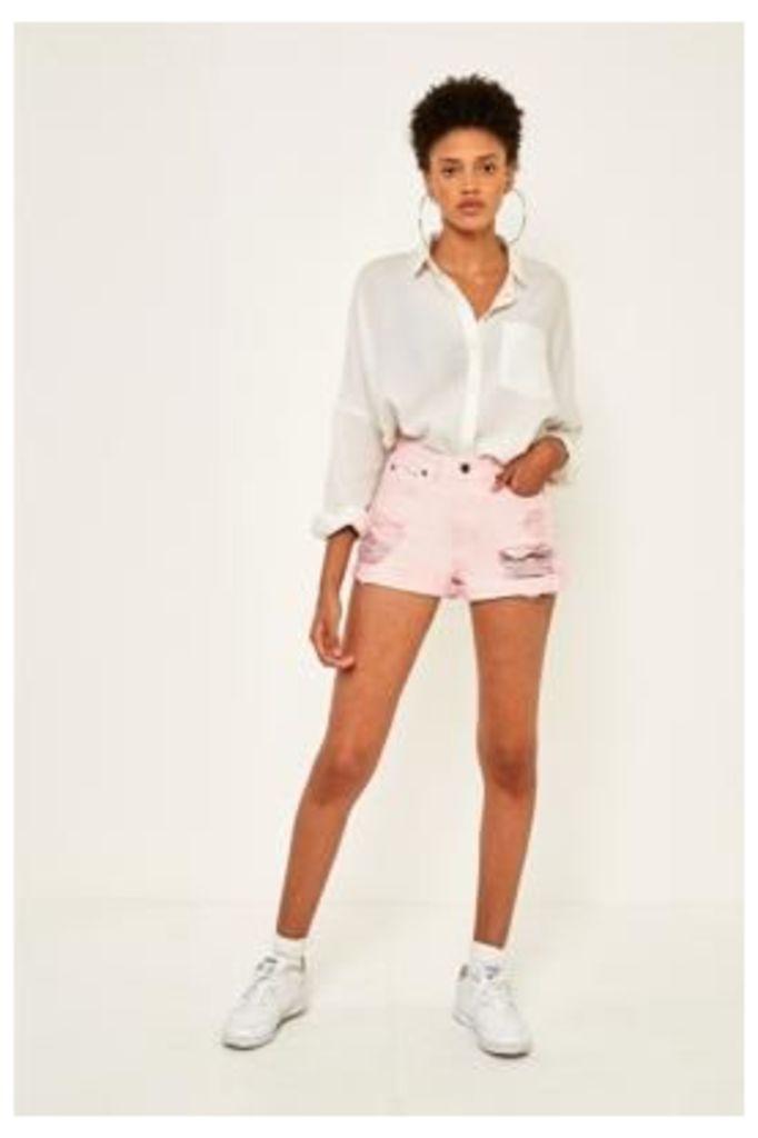 Dr. Denim Jenn Pink Destroyed Denim Shorts, Pink