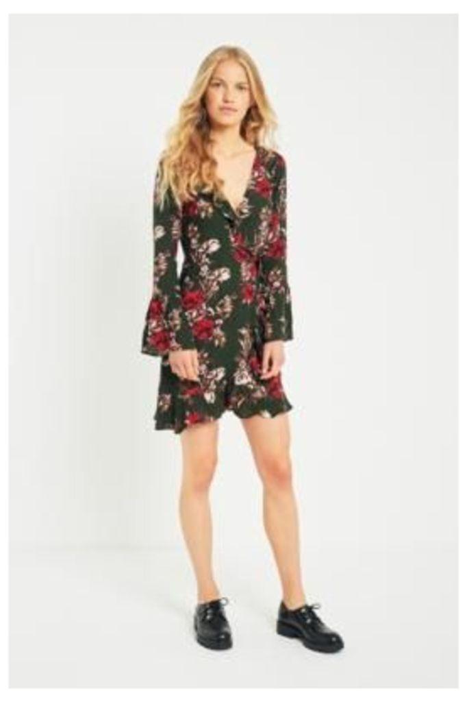 Pins & Needles Floral Ruffle Trim Wrap Dress, Green