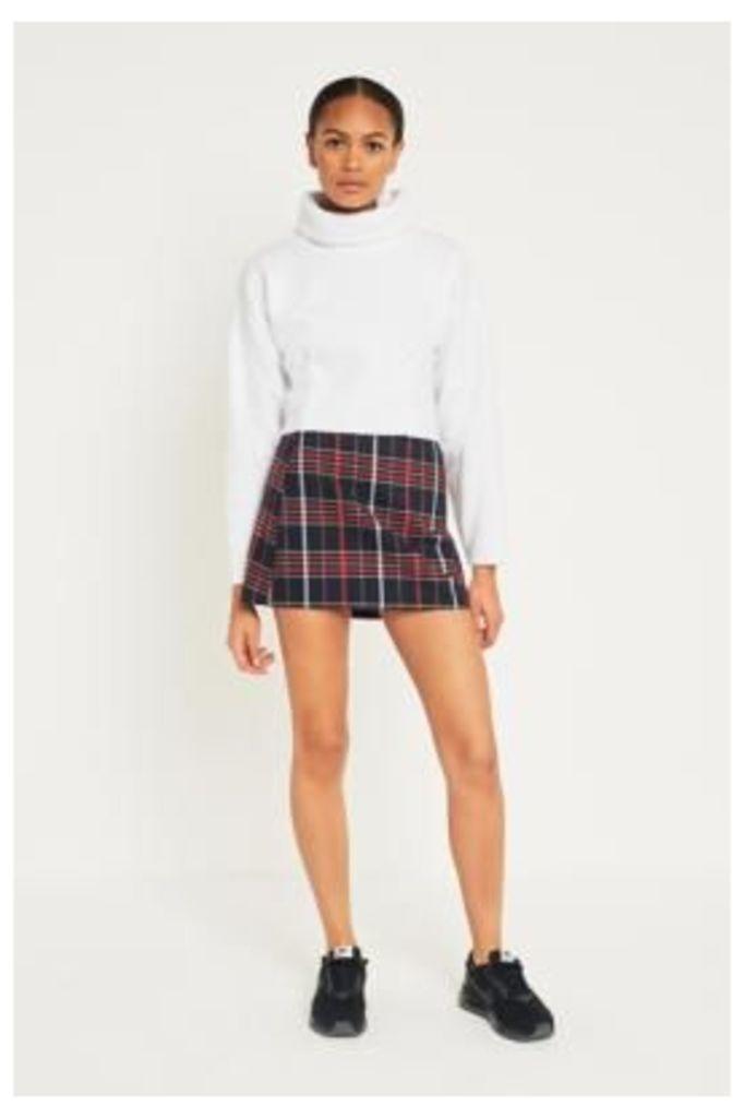Light Before Dark Tartan Plaid Seamed Pocket Mini Skirt, Navy
