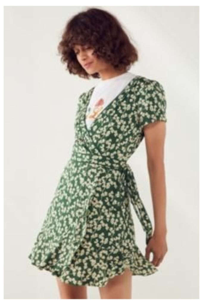 Kimchi Blue Rita Green Floral Wrap Dress, Green